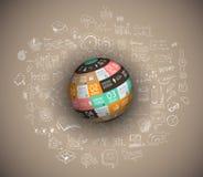 Vlak ontwerp en hand getrokken concepten voor bedrijfssucces, financiën Stock Fotografie