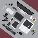 Vlak Ontwerp Grafische Ontwerper Workplace Concept Royalty-vrije Stock Fotografie