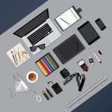 Vlak Ontwerp Grafische Ontwerper Workplace Concept Royalty-vrije Stock Afbeeldingen