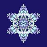 Vlak ontwerp met abstracte die sneeuwvlokken op blauwe achtergrond wordt geïsoleerd Vectorsneeuwvlokkenmandala vector illustratie