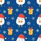 Vlak ontwerp nieuw jaar, achtergrond van het Kerstmis de naadloze patroon Stock Fotografie
