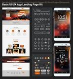 Vlak ontwerp ontvankelijk pixel perfecte UI mobiel app en websitemalplaatje Royalty-vrije Stock Afbeelding