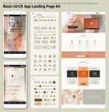 Vlak ontwerp ontvankelijk pixel perfecte UI mobiel app en websitemalplaatje Stock Fotografie