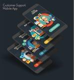 Vlak ontwerp ontvankelijke UI mobiele app met 3d modellen Royalty-vrije Stock Afbeeldingen