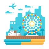 Vlak ontwerp Santa Monica Pier royalty-vrije illustratie