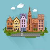 Vlak ontwerp stedelijk landschap Royalty-vrije Stock Afbeelding