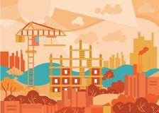 Vlak ontwerp stedelijk landschap Abstracte moderne stad Stock Fotografie