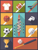 Vlak Ontwerp Team Sports Icons Vector Illustration Stock Foto's
