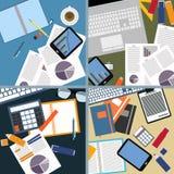Vlak ontwerp van Beeld van bureauruimte en voorwerpen Stock Foto's