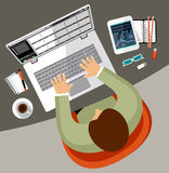 Vlak ontwerp van bureauwerkruimte Stock Afbeeldingen