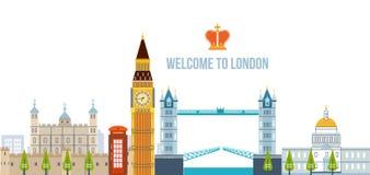 Vlak ontwerp van de stad van Londen De historische en moderne bouw Royalty-vrije Stock Foto