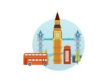 Vlak ontwerp van de stad van Londen De historische en moderne bouw Stock Afbeelding