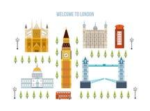 Vlak ontwerp van de stad van Londen De historische en moderne bouw Stock Afbeeldingen