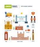 Vlak ontwerp van de stad van Londen De historische en moderne bouw Stock Foto