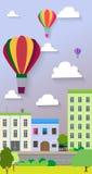 Vlak ontwerp van de van de stadsstraat en lucht ballons Vector Stock Illustratie