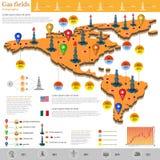 Vlak ontwerp van gasvelden en de productie van het infographicsgas van de gasinstallatie op de exploratie van de V.S. en van Mexi Royalty-vrije Stock Afbeeldingen