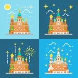 Vlak ontwerp van kerk van de redder op bloed Rusland Stock Fotografie