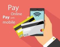 Vlak ontwerp van mobiele betalingstechnologie Stock Foto