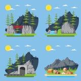 Vlak ontwerp van plattelandsbos Stock Afbeelding