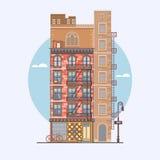 Vlak ontwerp van retro en moderne stadshuizen Elementen voor de bouw van stedelijke landschappen Stock Foto