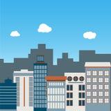Vlak ontwerp van stedelijk landschap Stock Afbeeldingen
