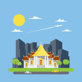 Vlak ontwerp van Thaise tempel Stock Afbeeldingen