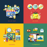 Vlak ontwerp voor elektronische handel, levering die, online, zaken winkelen Stock Afbeeldingen