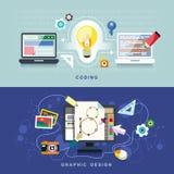Vlak ontwerp voor grafische ontwerp en codage vector illustratie