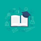 Vlak ontwerp voor onderwijstijd stock illustratie