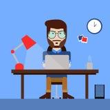 Vlak ontwerpconcept creatieve bureauwerkruimte met de bedrijfsmens Stock Afbeeldingen