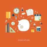 Vlak ontwerpconcept onderwijs Stock Fotografie