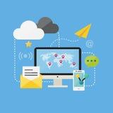 Vlak Ontwerpconcept Online Internet en de Sociale Vectoren van Netwerkpictogrammen Stock Fotografie