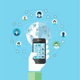 Vlak ontwerpconcept voor de moderne slimme mobiele telefoondiensten en apps Stock Afbeelding