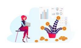 Vlak ontwerpconcept voor investering, financiën, bankwezen, analytics van marktgegevens, strategisch beheer stock illustratie