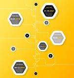 Vlak ontwerpmalplaatje met hexagon vormbellen Stock Afbeeldingen