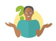 Vlak ontwerppictogram Zwarte knappe mens in glazentwijfels Kerel met een vraagteken Eenvoudig editable geïsoleerde vectorillustra Royalty-vrije Stock Fotografie