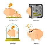 Vlak pictogram bedrijfspictogramspaarvarken Royalty-vrije Stock Foto's