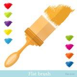 Vlak pictogram breed penseel met al kleurenpenseelstreek Stock Fotografie