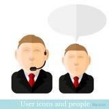 Vlak pictogram twee van de mens met kostuum en microfoon Stock Foto's