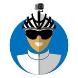 Vlak pictogram van de fietser vector illustratie