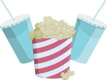 Vlak pictogram van de popcorn en de dranken Stock Foto's