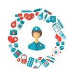 Vlak Pictogram van Verpleegster en Medische apparatuur en Voorwerpen Stock Afbeelding