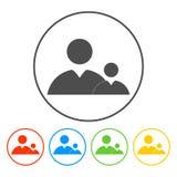 Vlak pictogram van zakenman en kind Royalty-vrije Stock Afbeelding