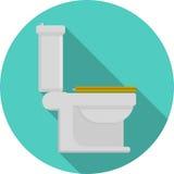 Vlak pictogram voor toilet Stock Foto