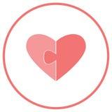 Vlak pictogram voor website en groetkaarten De twee helften van het hart op een witte achtergrond Delen van het raadsel voor de d Stock Foto's