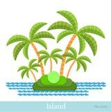 Vlak pictogrameiland met palm en overzees Royalty-vrije Stock Foto's