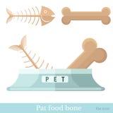 Vlak pictogramvoedsel voor huisdieren bon voor hond en visgraat voor kat Stock Fotografie
