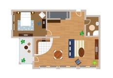 Vlak project met meubilair, vector Royalty-vrije Stock Afbeeldingen