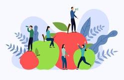 Vlak rode en groene appel met menselijke concepten vector illustratie