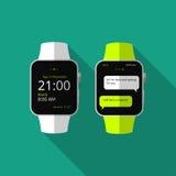 Vlak slim horloge met lange schaduw Het pictogram van toestellen Stock Afbeeldingen